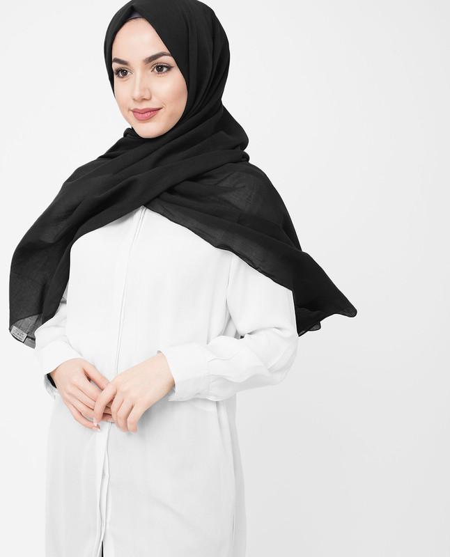 Black Cotton Voile Hijab