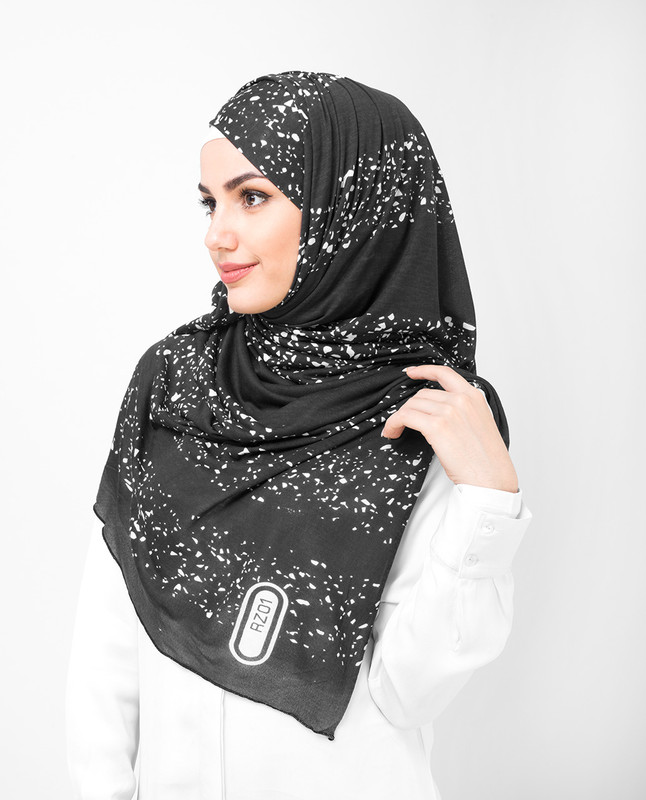 White Stoned Silver Jersey Hijab Black