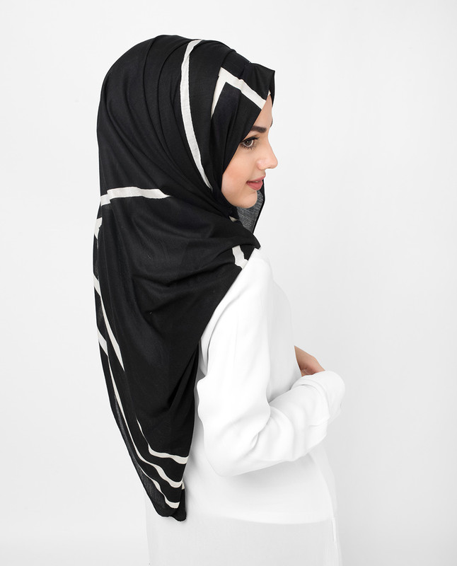 Black Melanoid Off White Print Viscose Jersey Hijab