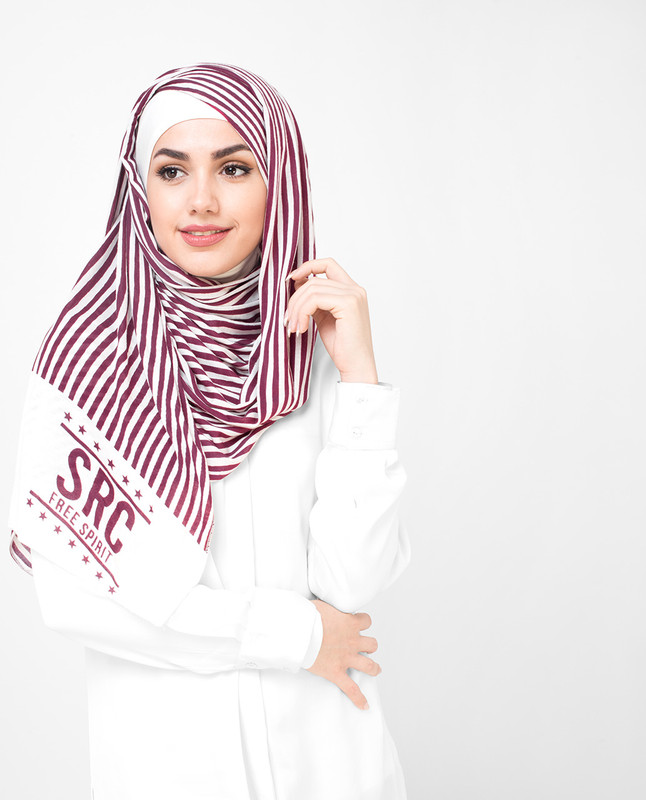 White And Red Stripes Print Viscose Jersey Hijab