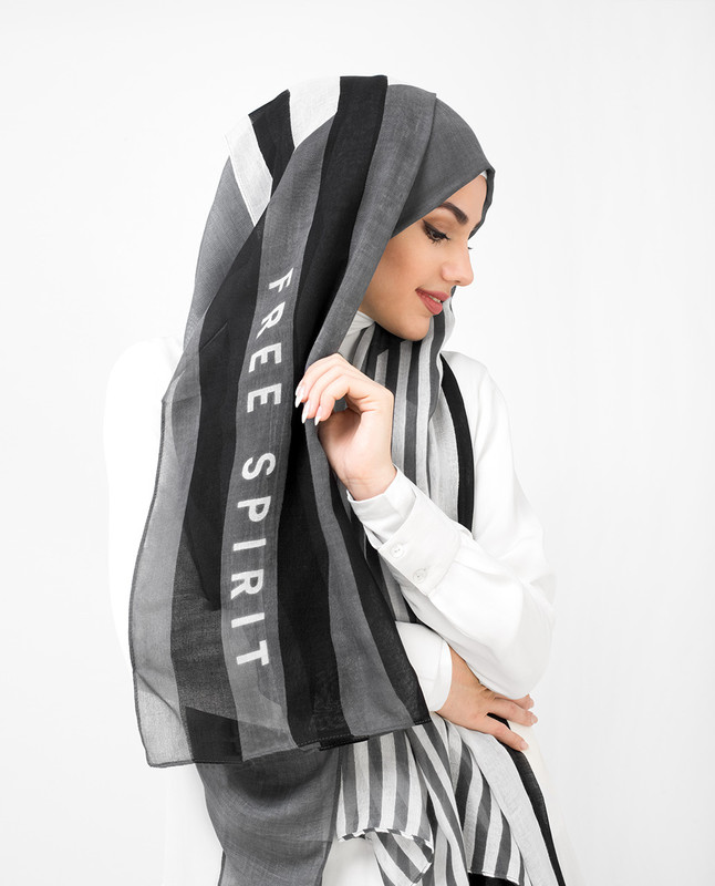 White and Steel Grey Stripe Print Viscose Hijab