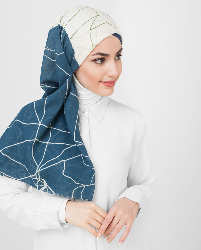 Blue White Pesto Printed Cotton Voil Hijab