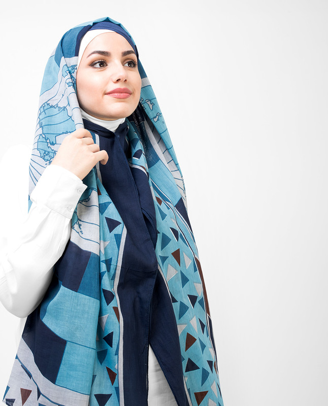 Blue And Teal Cotton Voil Hijab