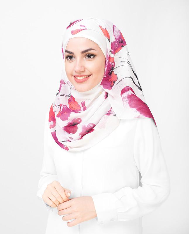 Pink Floral Printed Viscose Hijab