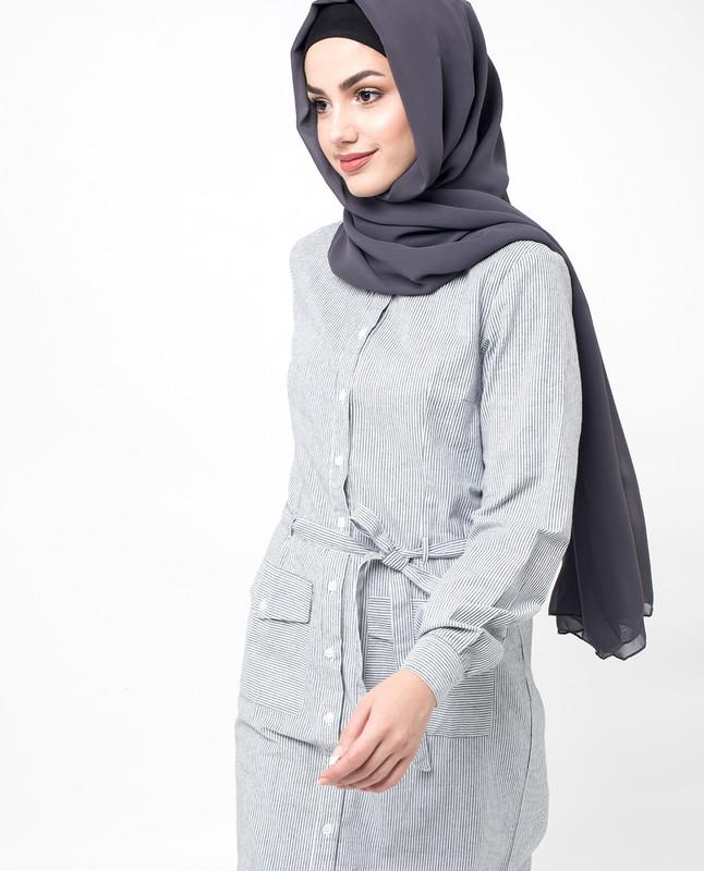 Black Pinstripe Pocket Belted  Shirt Dress