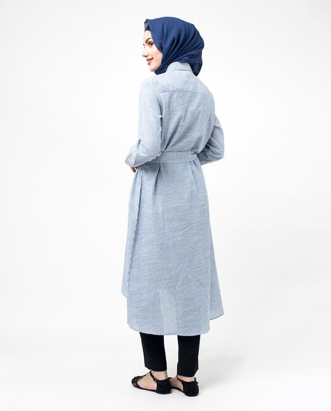 Blue Pinstripe Pocket Belted Shirt Dress