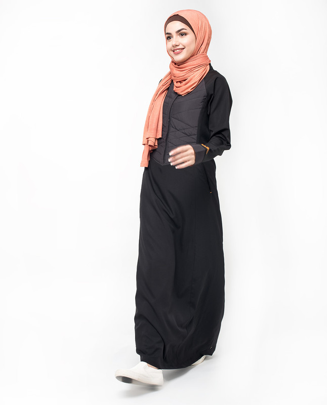 Quilted Button Front Black Jilbab