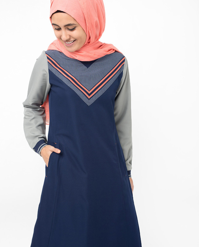 V-Neck Printed Navy Grey Jilbab
