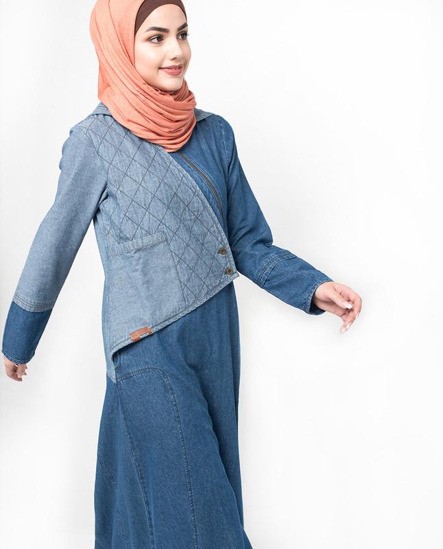 Hooded Quilted Denim Jilbab
