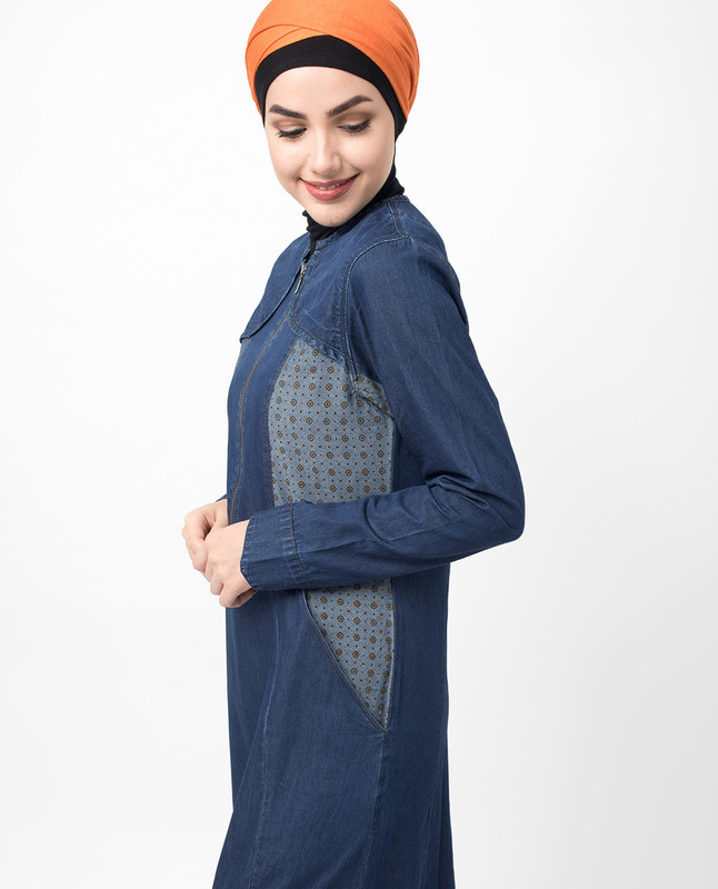 Zipped Fine Denim Print Maxi Jilbab