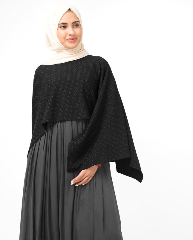 Black Asymmetric Dobby Knit Poncho