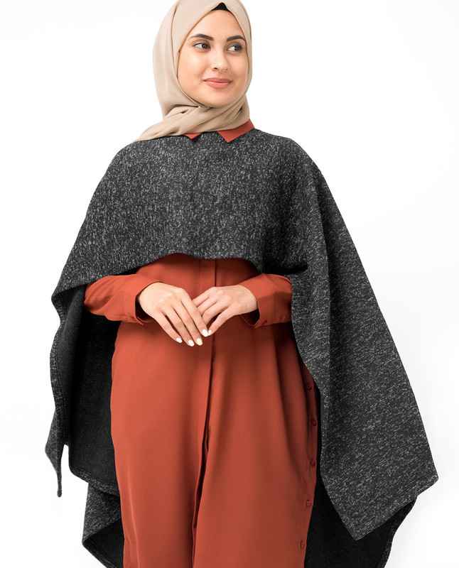Black Melange Waterfall Poncho