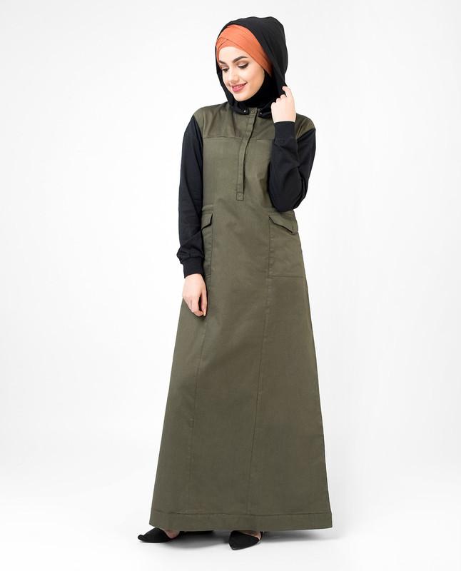 Utility Olive and Black hooded Jilbab