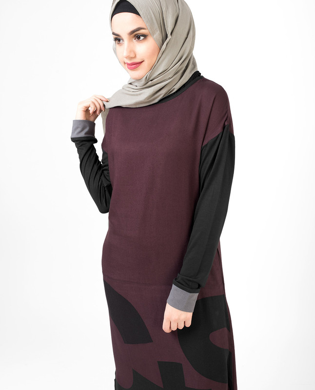 Purple Curved Hem Jilbab