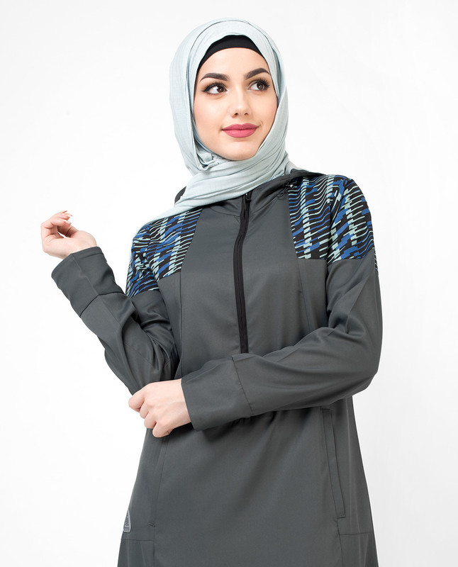 Grey Hooded Zip down Jilbab