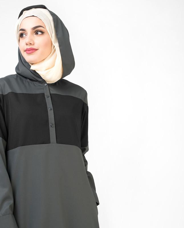 Grey Hooded Classic Sport Jilbab