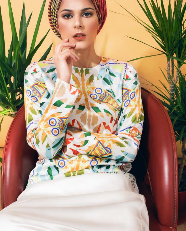 Modest Silk Print CNG Dress