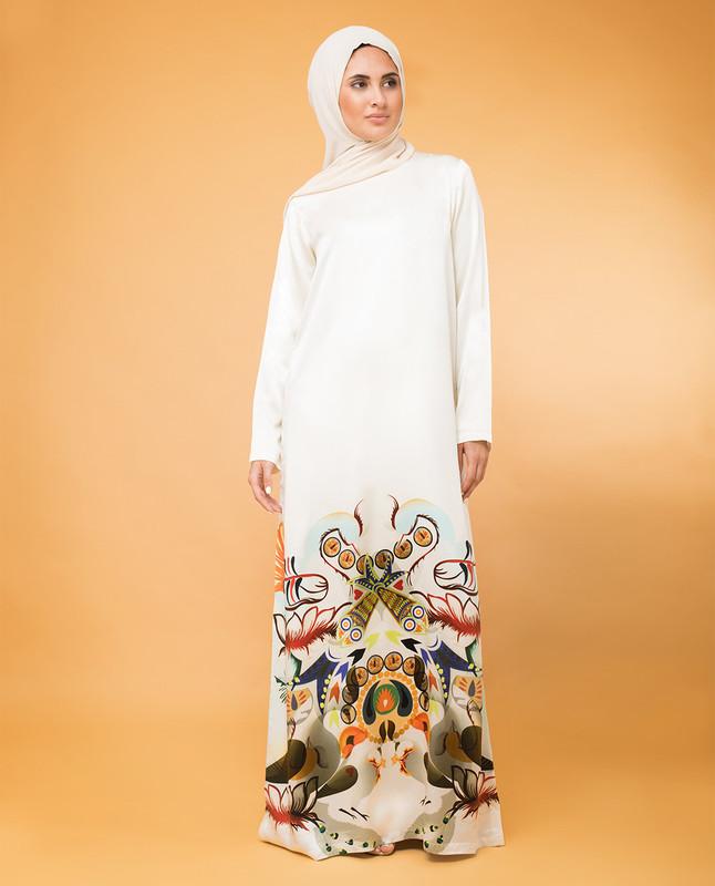 Modest Silk Print Rickshaw Dress