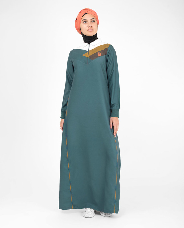 Classic Green Zip Collared Jilbab