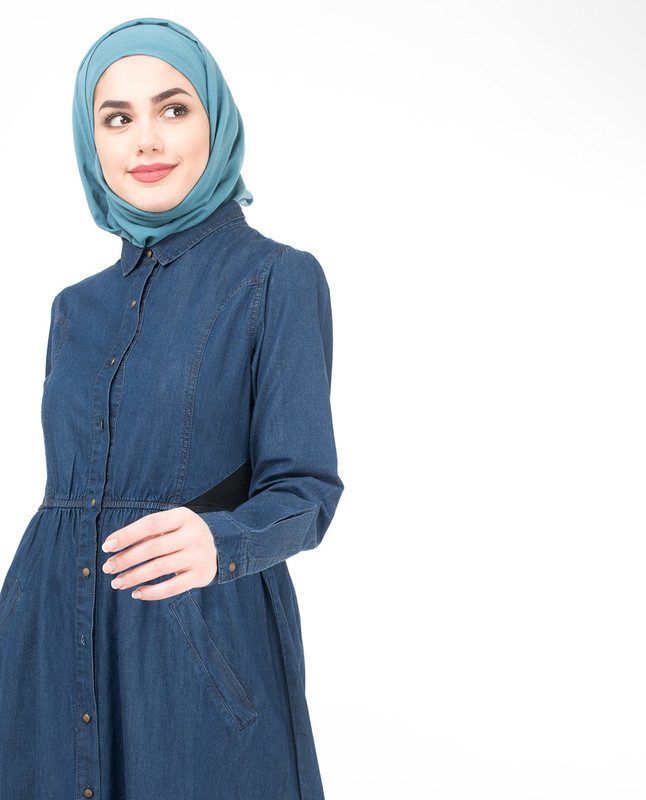 Gathered Full Open Denim Jilbab
