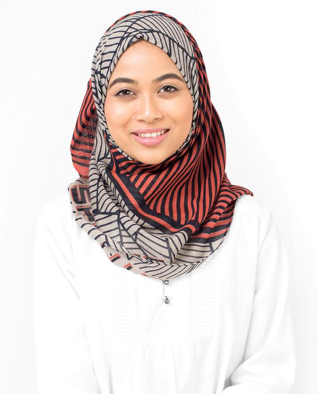Orange & Grey Striper Viscose Hijab