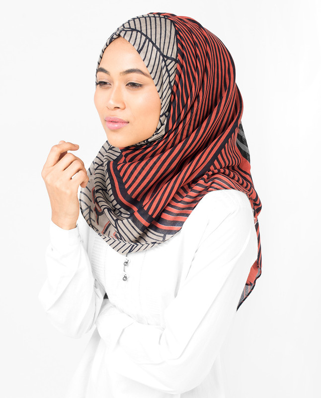 Orange & Grey Striper Viscose Hijab