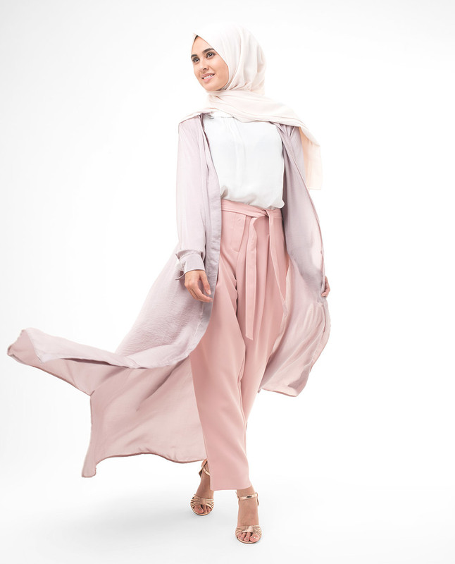 Full Button Pink Modest Shirt Dress