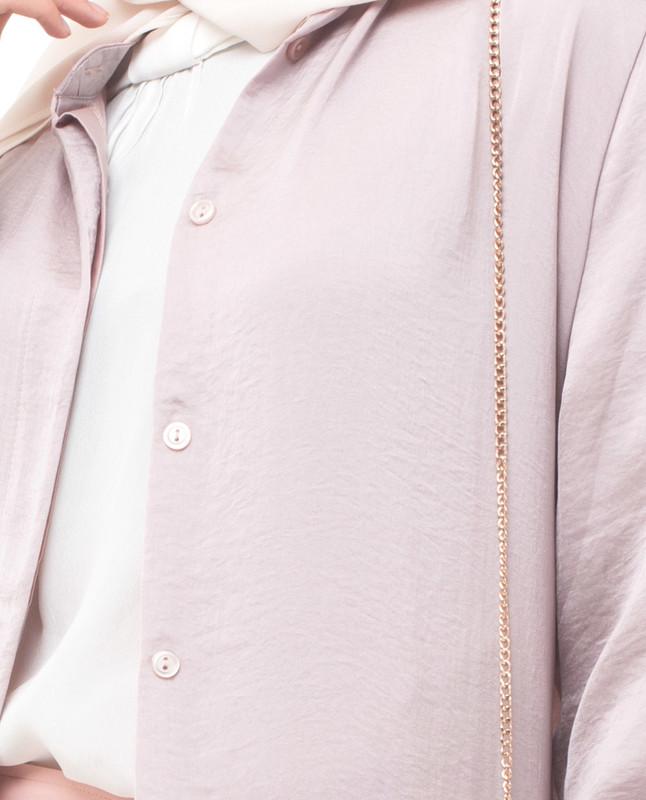 Full Button Pink Modest Shirt Dress