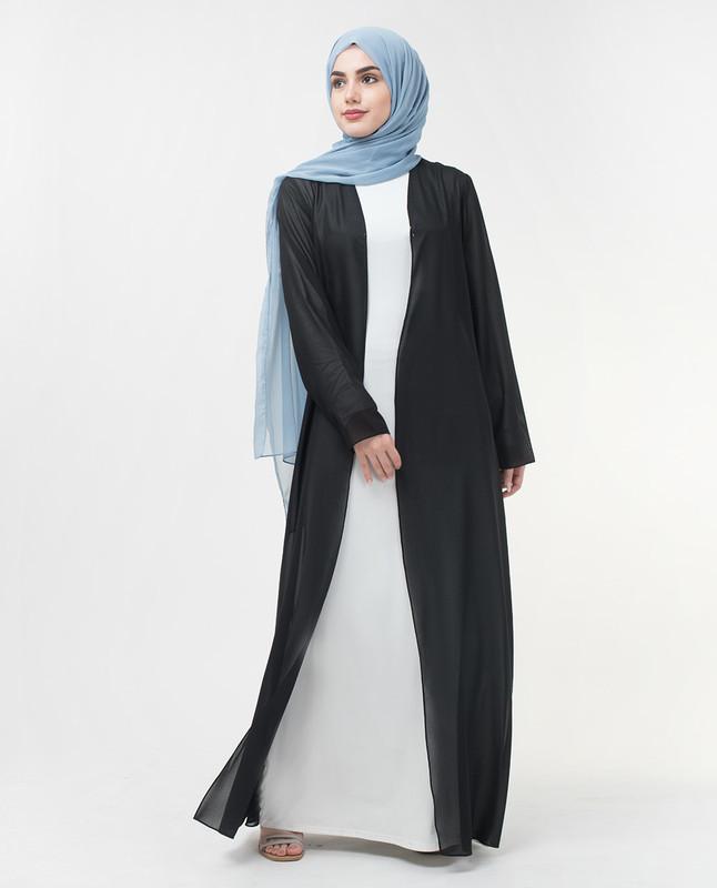 Long Sheer Black Outerwear