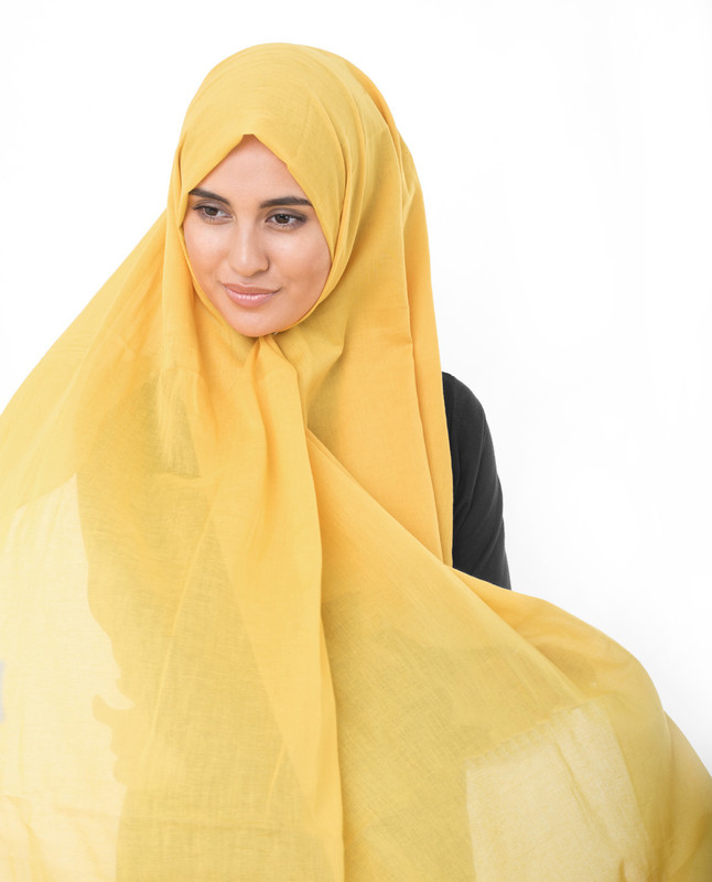 Lemonade Yellow Cotton Voile Scarf