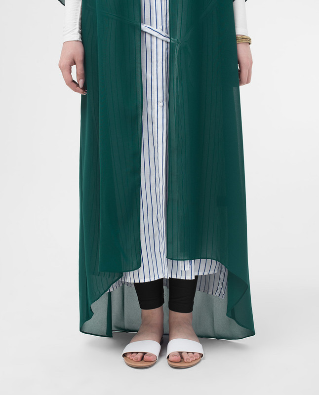 Long Sheer June Bug Green Kimono