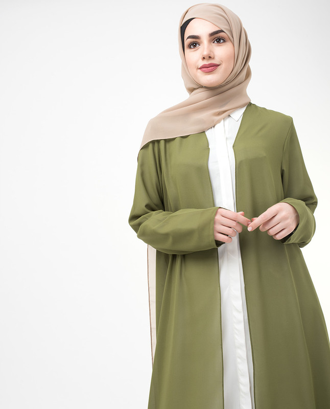 Long Sheer Olive Drab Green Outerwear