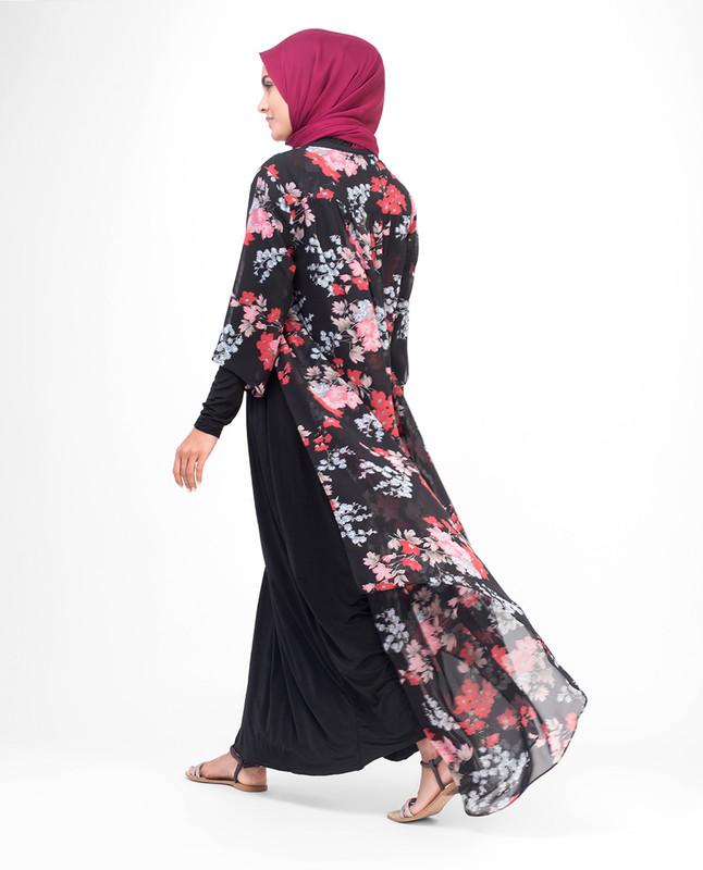 Long Black Floral Kimono