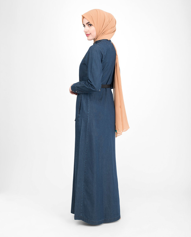Waist belt blue denim abaya jilbab