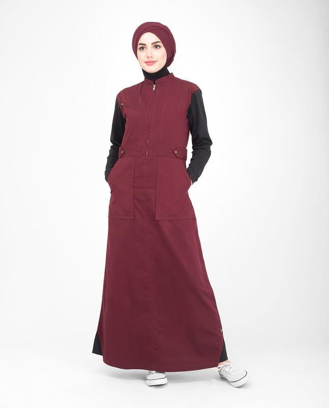 Cotton red abaya jilbab