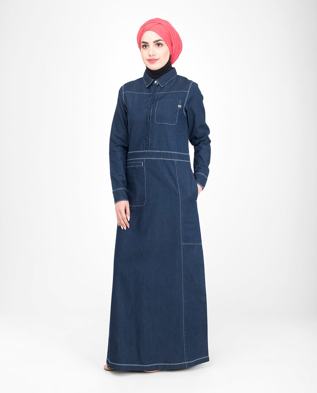 Cotton denim jilbab