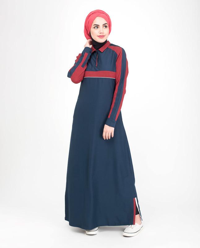 blue and Red abaya jilbab