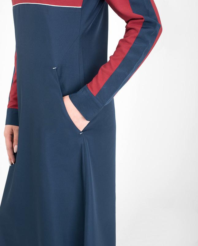 Red collar abaya jilbab