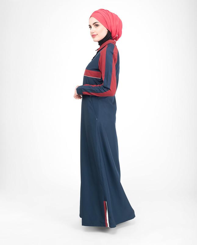 Contrast red jilbab abaya