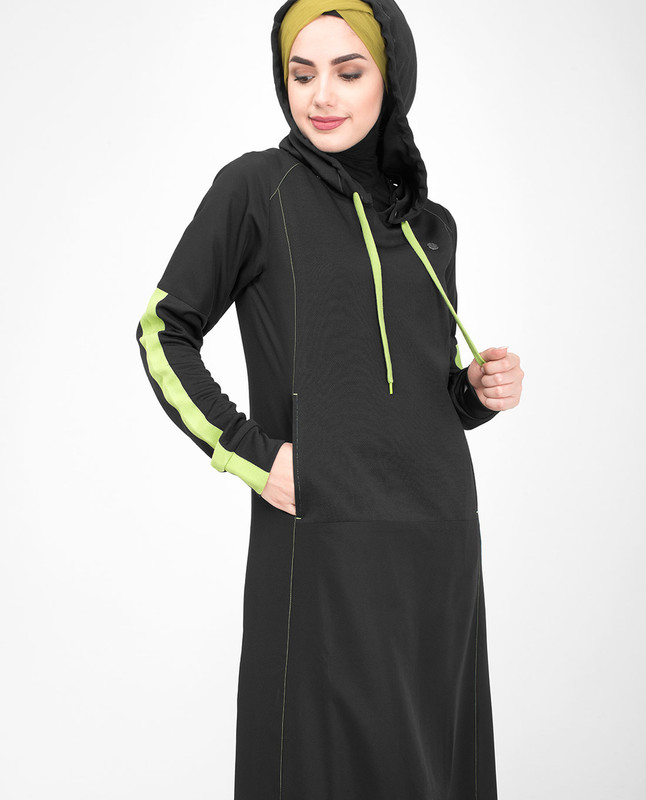 Black hooded jilbab abaya