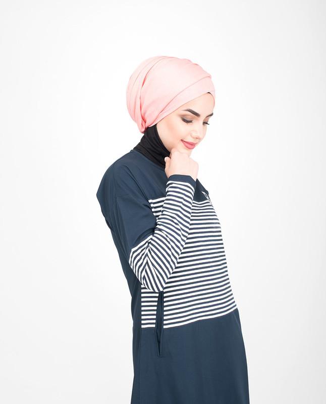Blue pocket abaya jilbab