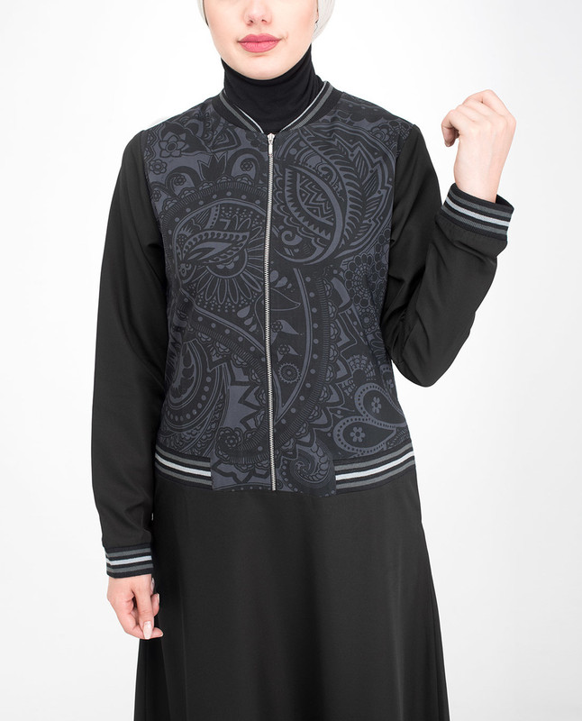 Black side pockets jilbab abaya