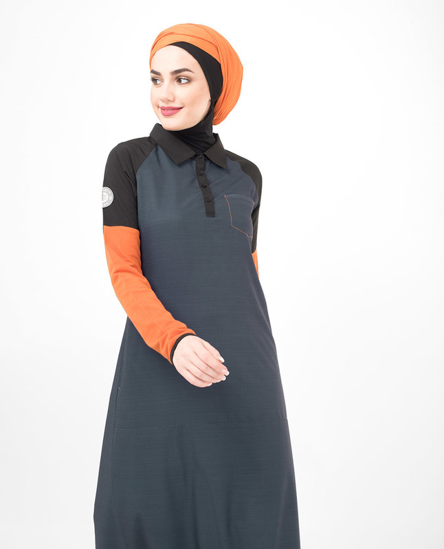 Cotton orange abaya jilbab