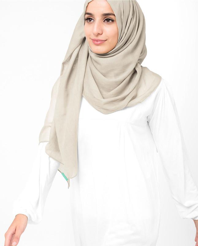 Cotton beige hijab scarf