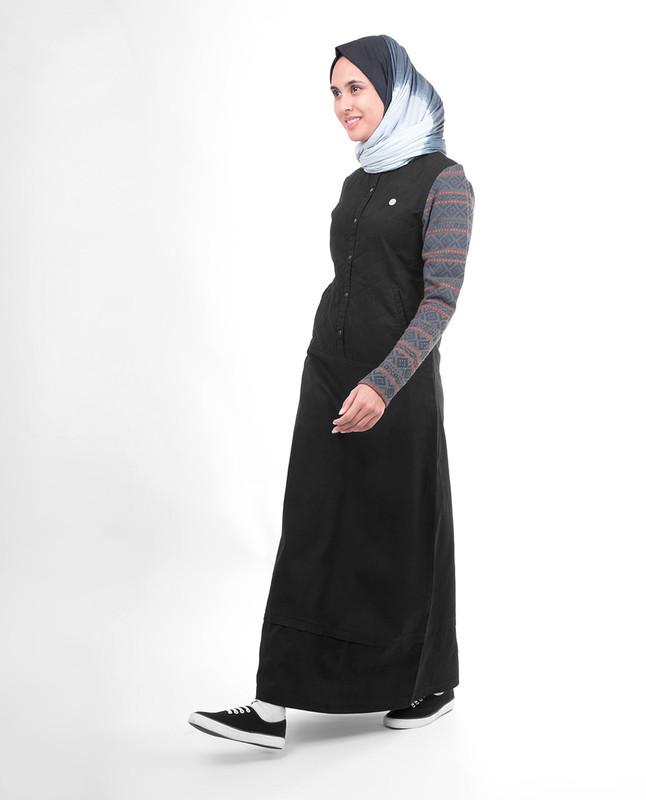 Black winter abaya jilbab