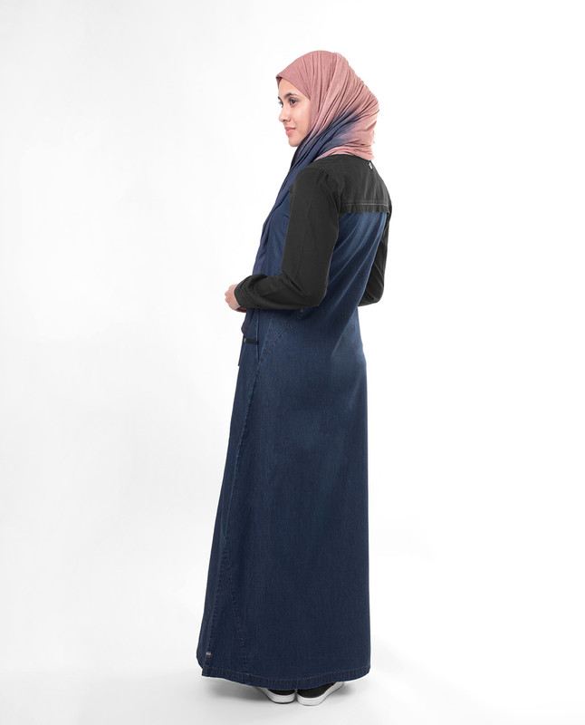 Dark blue fashionable abaya jilbab