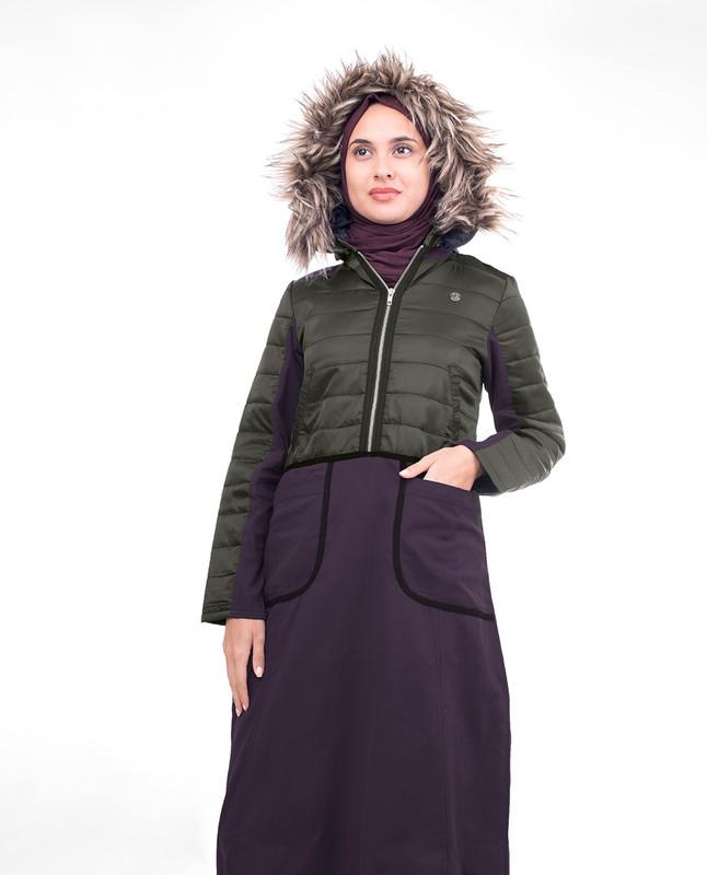Grey winter abaya jilbab