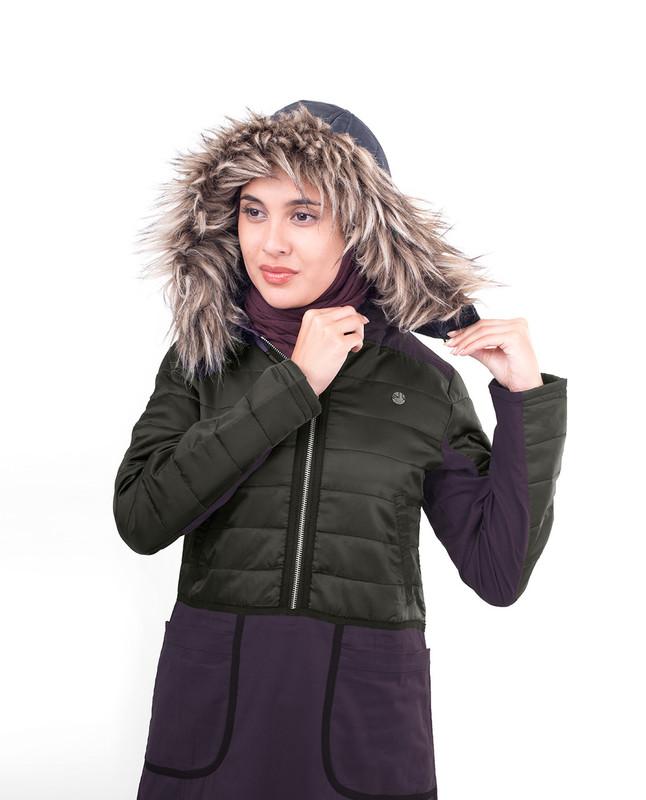 Grey winter hood abaya jilbab