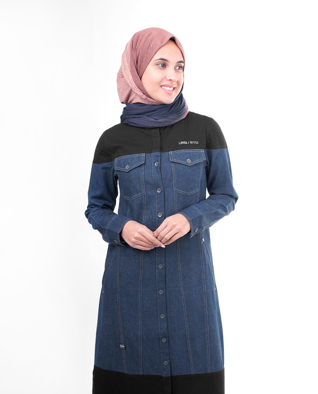 Denim With Black Contrast Jilbab