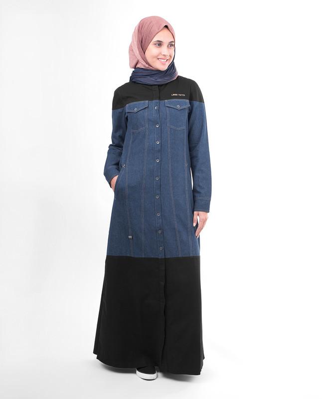 Black blue abaya jilbab